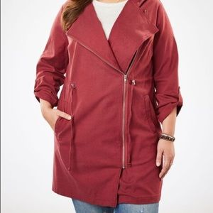 Woman Within Lightweight Utility Jacket Deep Red